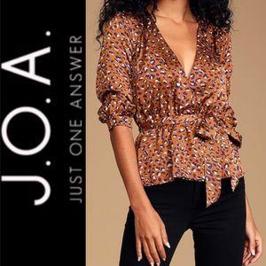 🆕 J.O.A. Brown Multi Leopard Print Satin Top